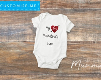 Baby's First Valentine's Day, Custom Baby Onesie, Personalised Infant Bodysuit, Custom Children's T-Shirt, Personalised Infant T-Shirt
