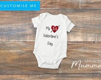 Baby's First Valentine's Day, Custom Baby Onesie, Personalised Infant Bodysuit, Custom Children's T-Shirt, Personalised Infant T-Shirt