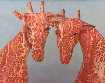Abstract Fluid Acrylic Painting, unique, embellished with two Giraffes by using a technique called 'Negative Painting'