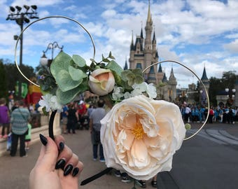 Floral, wire Mickey Mouse Ears (Invididually Made)