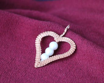 Heart of pearls pendant