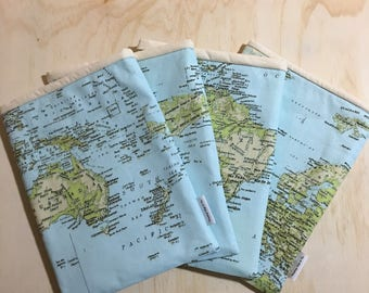 World Map Large My Book Pouch Book Sleeve