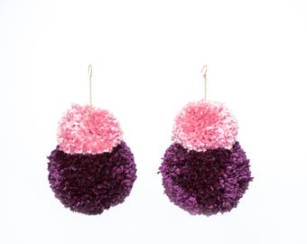 Double Stack Pom Poms, Earth Tone Pom Pom Earrings, Fluffy Earrings, Plum and Pink