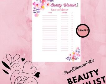 Beauty WishList Printable - Face Exfoliator - A4 - Digital Download