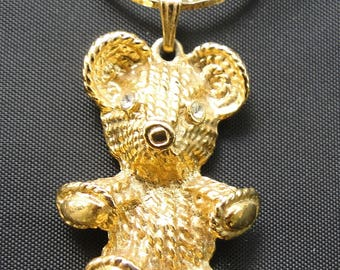 "Signed Vintage Premier Design 1.25"" Rhinestone Teddy Bear with 7.5"" Gold Necklace"
