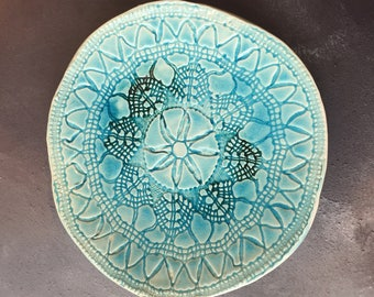 Beautiful Blue Lace Imprint Plate
