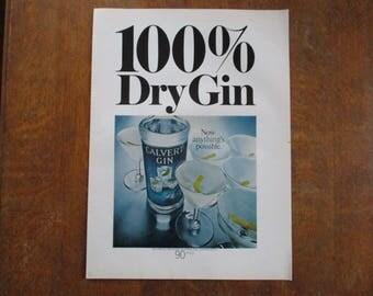 1968 Original Vintage Calvert dry Gin ad