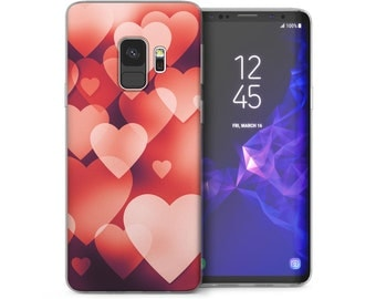 Samsung Galaxy S9 Case, Colliding Heart Pastel Print Thin Soft Cover
