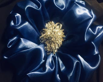 Royal Blue Fabric Brooch Pin
