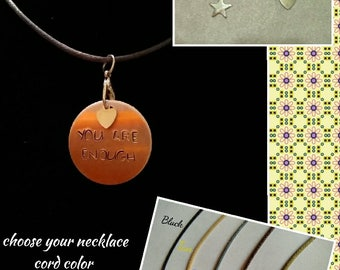 Hand-Stamped Pendant Necklace (You Are Enough)