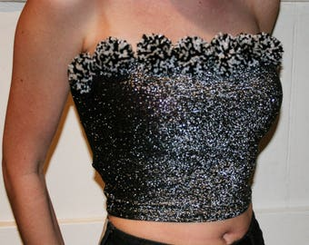 Handmade black and white pom poms on a sparkly dark grey bandeau top, party top, glitter