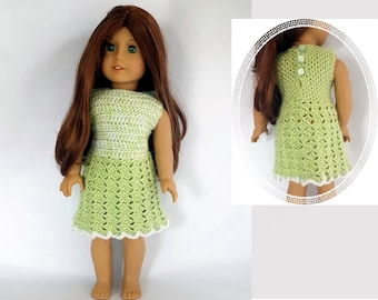 "Crocheted green & silver dress fits 18"" dolls such as American Girl"