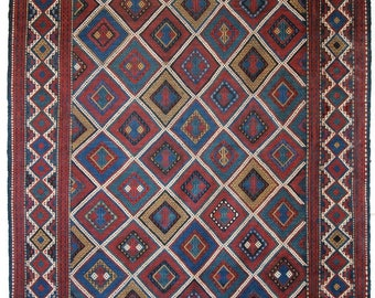 Antique Caucasian Azeri Vernah Embroidered Flatweave, Outstanding Condition, Circa 1900.