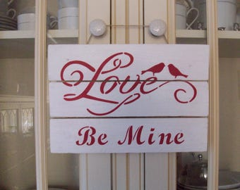 Reclaimed Rustic Wooden Hand Made Decorative Valentine Sign/Plaque