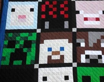 Minecraft Creeper Character Pixel Quilt Twin Size