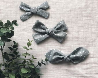 Grey Triangles Clean Classic Hand Tied Bow Bubble Knot Bows Nylon or Clip