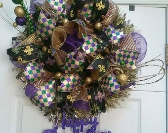 Mardi Gras Deco Mesh Flower Wreath