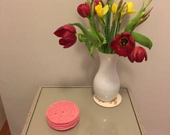 4x coral pink crochet coasters