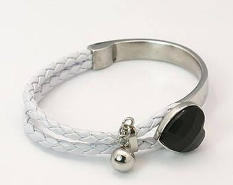 Stainless steel bracelet with leather * Heart in acrylic white