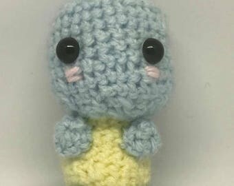 "Crochet Squirtle plush & keyring pokemon 3"" handmade soft toy"
