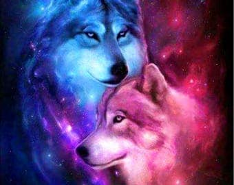 """5D DIY Square All-Diamond Painted """"Love Wolf"""" 3D Embroidery Cross-stitch Mosaic Painted Home Decoration Gifts BK"""