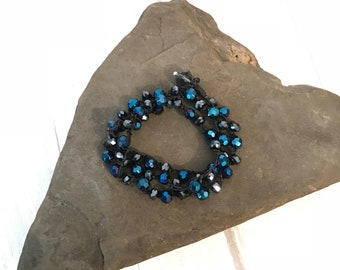 Crochet wrap necklace, blue and gun metal black beaded necklace, Fire polished Czech bead crochet necklace