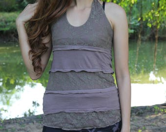 Light Brown Lace Layer Pixie Top, Fairy Tank Top, Gypsy Boho Hippie Top, Yoga Halter Top, Goa Trance Clothing, Belly Dance, Festival Costume