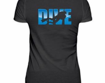 """Hochwertiges Damenshirt -  Scuba Dive Shirt """"Diver's Silhouette"""""""
