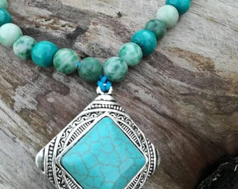 Turquoise Bohemian Necklace with jade