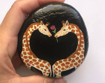 Hand painted rock , Giraffes , animal rock painting