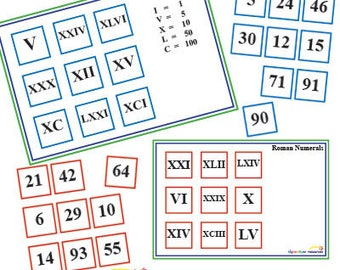 KS2 Roman numerals maths lotto matching game PDF Educational Printable