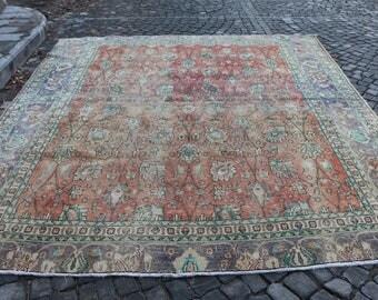 Rare Large Size Anatolian Turkish Rug Free Shipping Floor Rug 9.3 x 10.7 ft. Oushak Rug Boho Decor Aztec Rug Unique Tribal Rug Rugs MB111