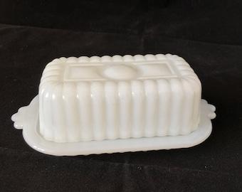 Milk Glass Butter Dish (half stick)