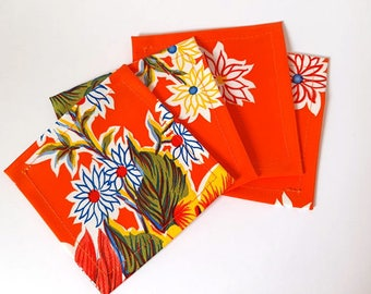 Red Floral Mexican Oilcloth Coasters - Set of 4