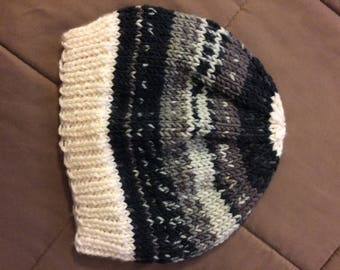 Multi-color chunky knit hat