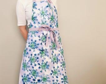 Adult apron, Spring Flower Print, Hand Printed