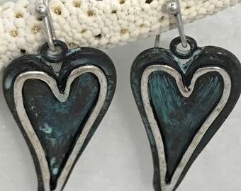 Heart Earrings, Boho Earrings, Mixed Metal Heart Earrings, Gift for her