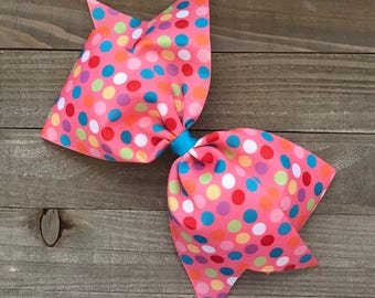 "Pink With Polka Dots 7"" Bow"
