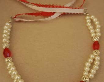 Fancy Red and Silver pearly Necklace for Doggie