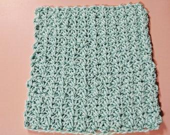 "8"" Spider Stitch Blue 100% Cotton Dishcloth or Washcloth"