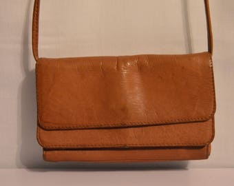 Vintage Hobo International Crossbody Double Flap in Cognac