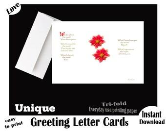 ADMIRE, Instant Download, Printable, Valentine's Day Greeting LETTER Card, Love Poem, Valentine's Day Poem, Digital, Unique Valentine cards
