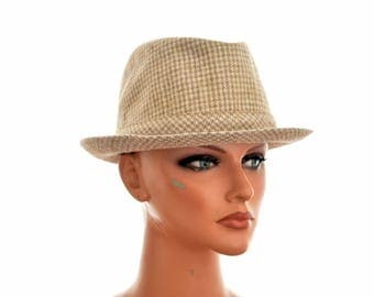 """vintage FEDORA HAT by WEGENER / size wb A54 / circumference 54 cm or 21+"""" / wool houndstooth"""