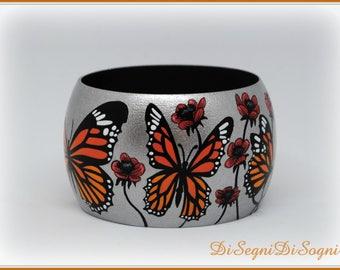 MONARCH Hand painted BUTTERFLIES bracelet-bangle