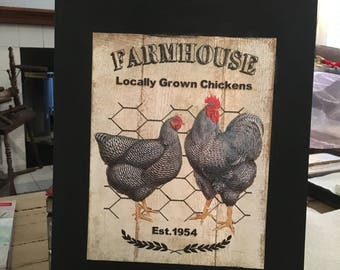 14x11 Canvas rooster picture. Black background with chicken and roosters