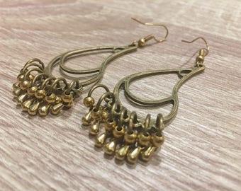 Brass earrings,water drop shape, thai style