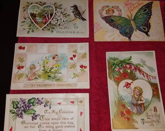 5 Antique Valentine Postcards, postmarked 1910-1916, 1 and 2 cent stamps
