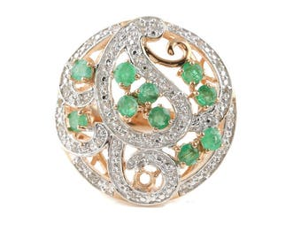 Orianne gold wash over Sterling silver Emerald and white topaz estate ring