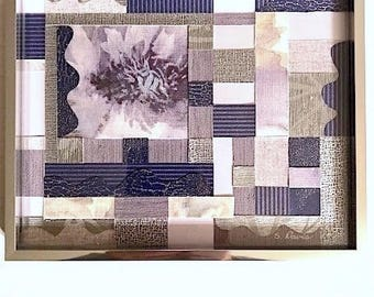 Purple and Silver Floral Textured Paper and Fabric Collage Art (with Frame)