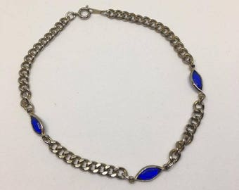 Blue Accent Anklet